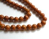 Riverstone beads in brown round gemstone 8mm full strand 4294GS