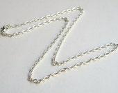2 Textured Cable 18 inch finished silver chains with lobster claw clasp necklaces 4x3mm links DB14097
