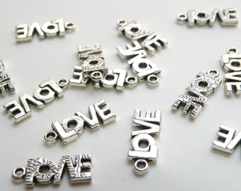 10 LOVE charms antique silver 20x8mm PA0083Y