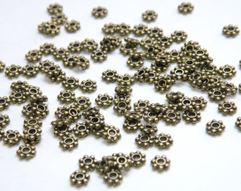 100 Beaded rondelle daisy spacer beads antique bronze 4mm PMLF1022Y-AB