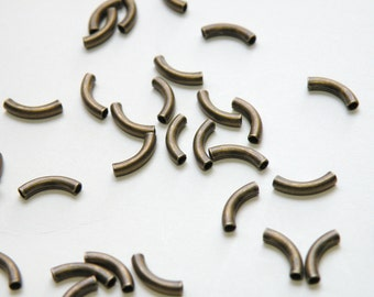 25 Curved tubes spacer beads antique bronze plated brass 10x2mm 8079MB