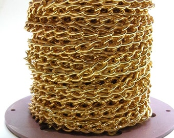 Chunky twisted cable chain gold plated steel 11x6mm links 5 Feet 1323CH