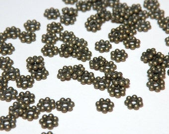 50 Beaded rondelle daisy spacer beads antique bronze 6mm 7976MB