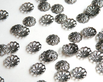 50 Bead caps flower antique silver plated brass 8mm (fits 8-10mm bead) A5634FN