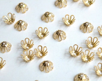 50 Bead caps filigree flower shiny gold plated brass 7mm (fits 7-9mm) 6007FN