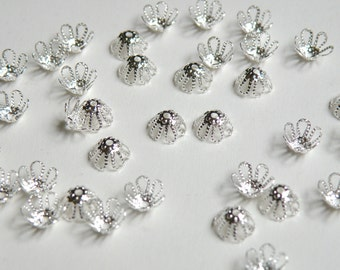 50 Bead caps filigree flower shiny silver plated brass 7mm (fits 7-9mm) 6009FN