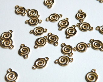 20 Round swirl links shiny gold plated brass 11x7mm 6661FD