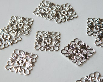 12 Flat scalloped square floral motif shiny silver connector link or focal piece 16x16mm 5132FY