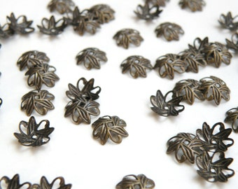 50 Leaves bead caps antique bronze plated brass 10mm (fits 8-10mm) A5581FN