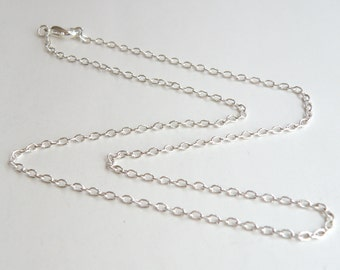 2 Cable 18 inch silver chains with lobster claw clasp finished necklaces 3x2mm links DB12716