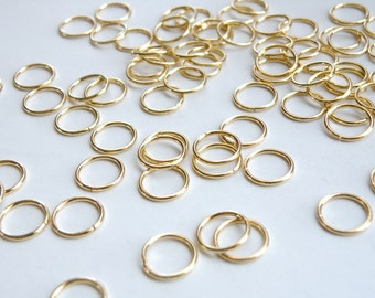 50 Jump Rings open round shiny gold plated brass 10mm 18 gauge A4899FN