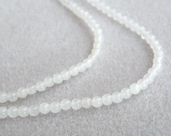Natural white snow quartz gemstone round 4mm full strand 3114GS