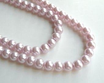 Lilac lavender glass pearl beads round 8mm full strand 7769GB