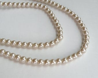 Beige glass pearl beads round tan or taupe 6mm full strand 7758GB