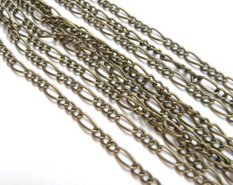 Figaro chain 7x3mm and 4x3mm links antique bronze 5 Feet DB12206