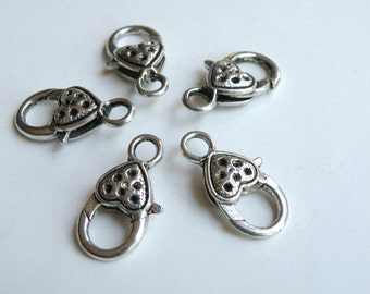 5 Large heart lobster claw clasps antique silver 26x14mm K17