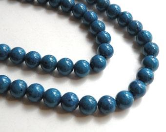 Riverstone beads in blue round gemstone 8mm full strand 4295GS