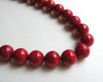 Riverstone beads in beet red round gemstone 12mm full strand 4312GS