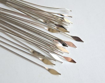 """50 Head Pins with pointed spear head 2"""" silver plated brass 22 gauge A5559FN"""