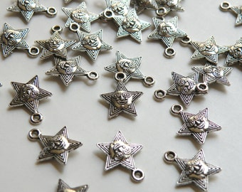 10 Smiley Face Star Charms antique silver 17x14mm KA11238