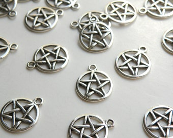 10 Star pentacle pentagram charms antique silver 20x17mm PLF11172Y
