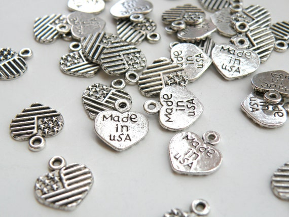 10 Heart charms with American Flag & Made in USA antique silver 13x12mm DB07783 by SparklingSistersJS