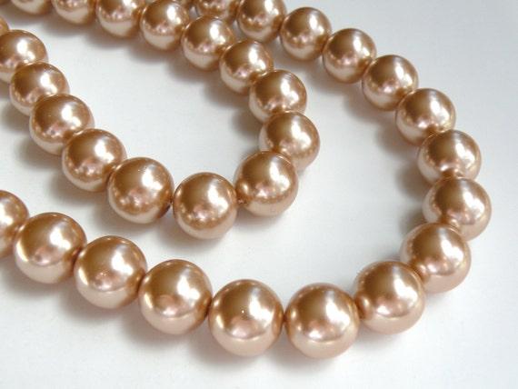 Bronze copper glass pearl beads round 16mm full strand 2019GL