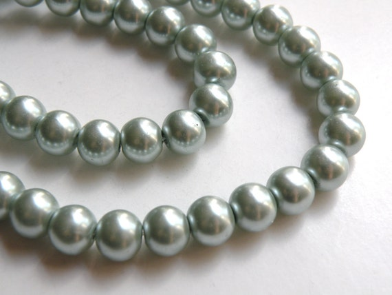 Teal green glass pearl beads round 8mm full strand 7776GB