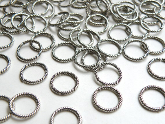33 Twisted rope round circle jump ring connector links antique silver 12mm FC630