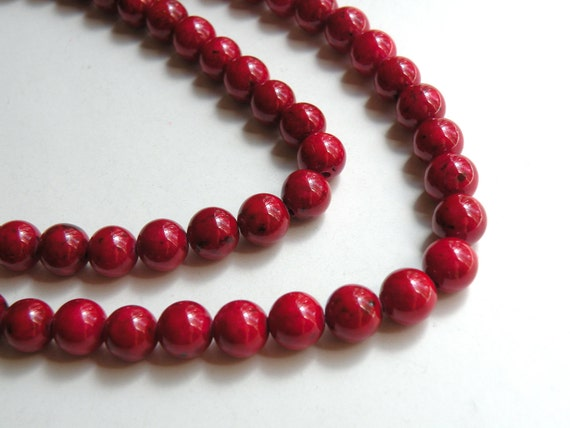 Riverstone beads in beet red round gemstone 8mm full strand 4296GS