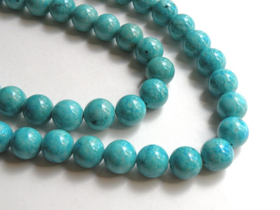 Riverstone beads in turquoise blue round gemstone 10mm full strand 9455GS