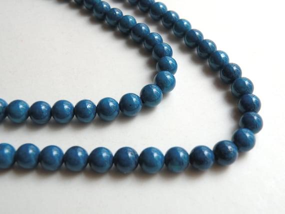 Riverstone beads in blue round gemstone 6mm full strand 4287GS