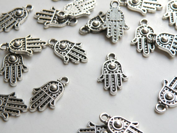 10 Hamsa Hand Fatima Hand with Evil Eye Charms antique silver 19x12mm PA11092-AS