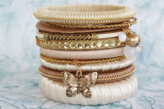 Gold Cream Brown Wrap Bangle Bracelet Stack with Butterfly & Pearl Charms - Pack of 10
