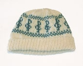 Beanie - Wool, Music Pattern, Treble Clef in Teal and White