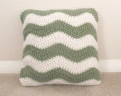 Pillow - Green and White throw pillow, cusion 12x12, pillow insert included