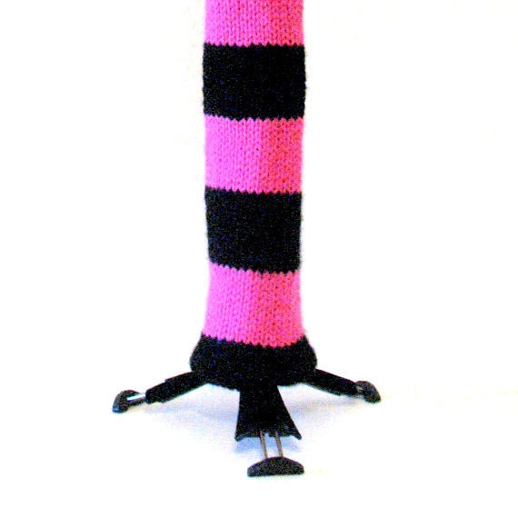 Clarinet Sock - Pink and Black Stripes, Handknit, Original Design