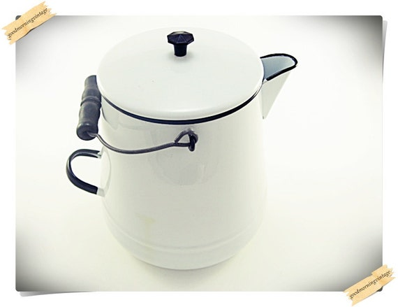 Enamel Coffee Pot with Wood Handle