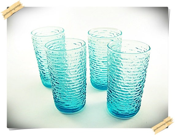 Aqua Blue Textured Drinking Glasses
