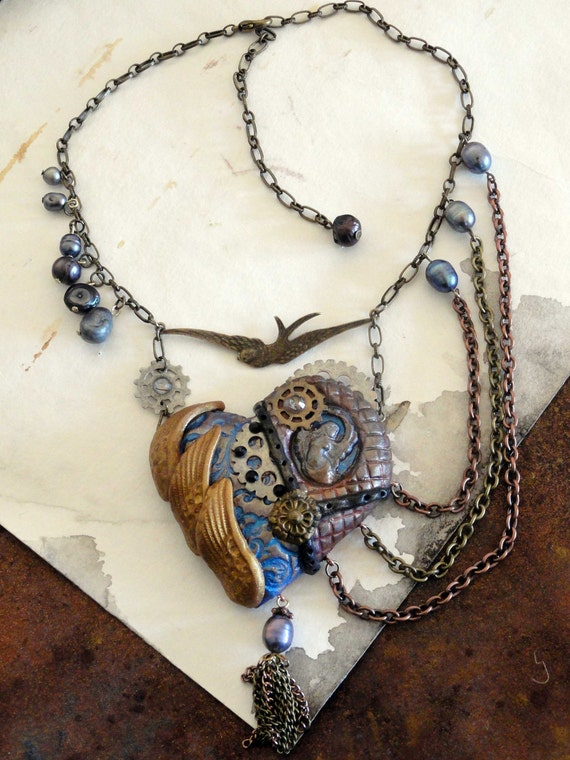 SALE Steam Punk angel  necklace -  neo victorian Victorian silk and pearls