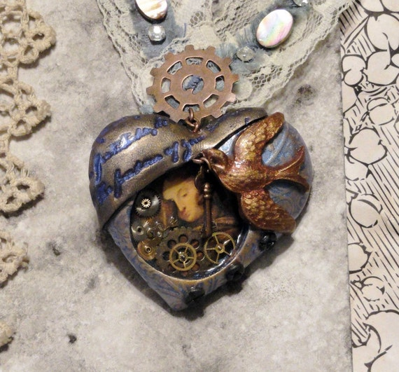 Steam Punk Heart Necklace - Vintage lace and blue silk