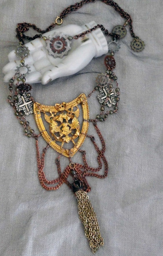 Reserve steam punk staitment necklace - vintage assemblage necklace