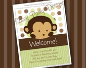 INSTANT DOWNLOAD Monkey Shower Decorations Welcome Sign Digital File