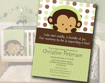 Monkey Baby Shower Invitation Digital File Matches Mod Pod Pop Monkey Nursery Bedding INSTANT DOWNLOAD Customizable MicroSoft Word Template