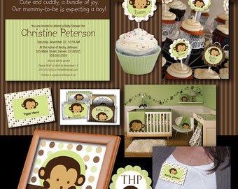 Mod Pod Pop Monkey Deluxe Baby Shower Collection Printable Files