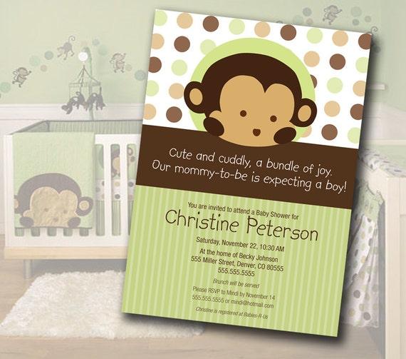 Monkey Baby Shower Invitation Matches Mod Pod Pop Monkey Nursery Bedding
