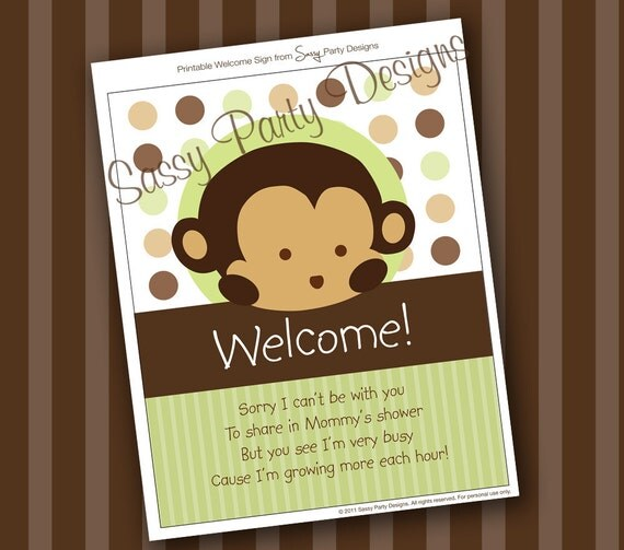 Instant download monkey shower decorations welcome sign for Welcome home decorations for baby