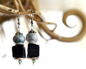 Handmade earrings with blue ceramic beads and lava Free Shipping