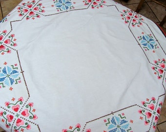 Vintage Linen Tablecloth, Embroidered Hearts on White Linen
