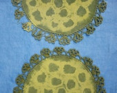"Set of 2 Hand Dyed Doilies, ""Circle Vortex"" Pattern, Crochet Edges"